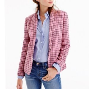 J.Crew Pink Wool Houndstooth Campbell Blazer